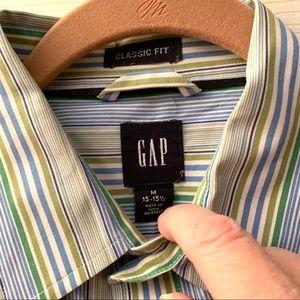 Gap Men's Striped Classic Fit Shirt - Blue/Green